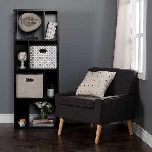 South Shore Reveal Shelving Unit with 8 Compartments with 2 Fabric Storage Baskets Chambray and Patterned, Multiple Colors