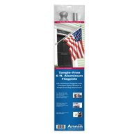 Annin Tangle free 6' Aluminum Flagpole with 2 position nylon bracket and silver ball ornament.