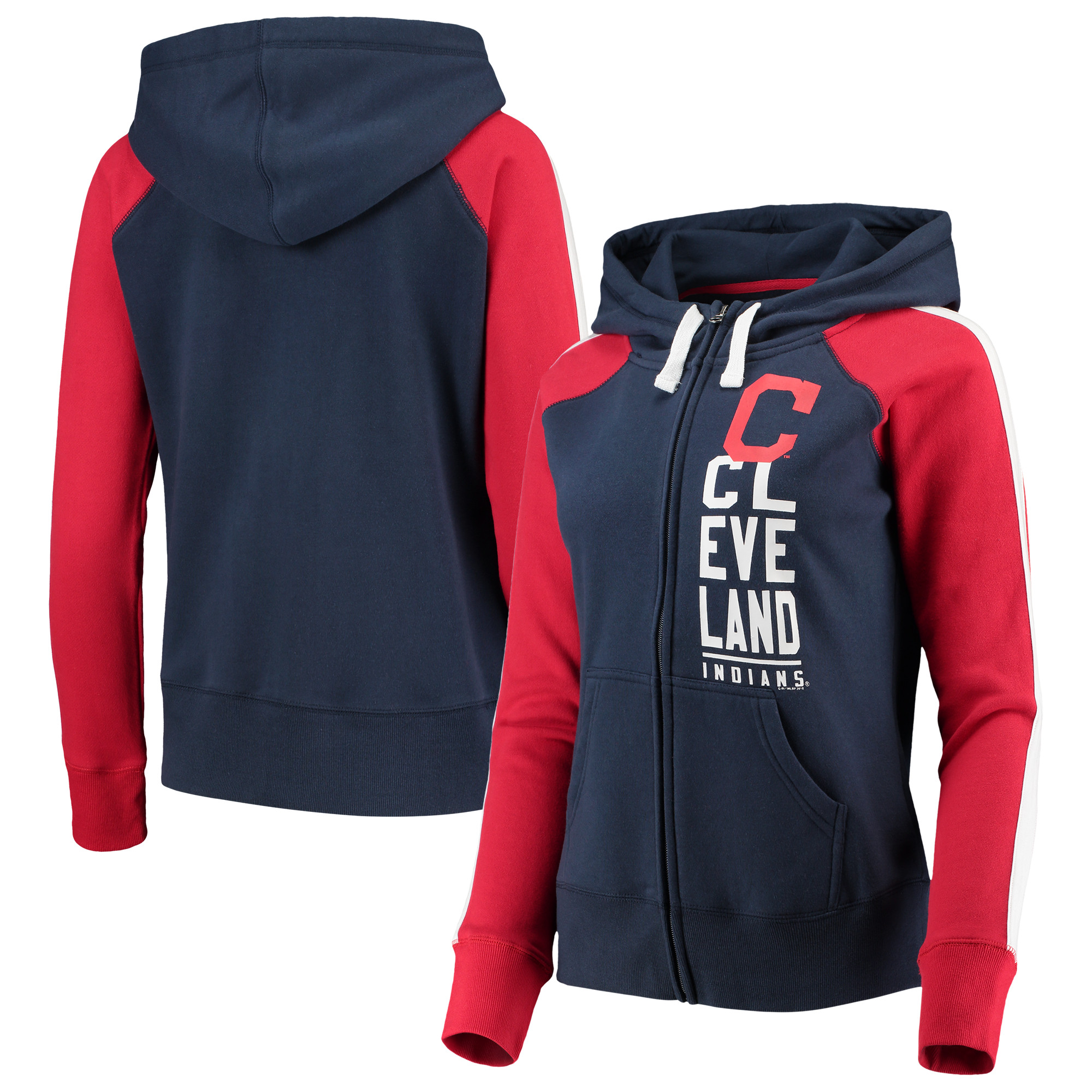 Cleveland Indians G-III 4Her by Carl Banks Women's Game Changer Raglan Full-Zip Jacket - Navy/Red