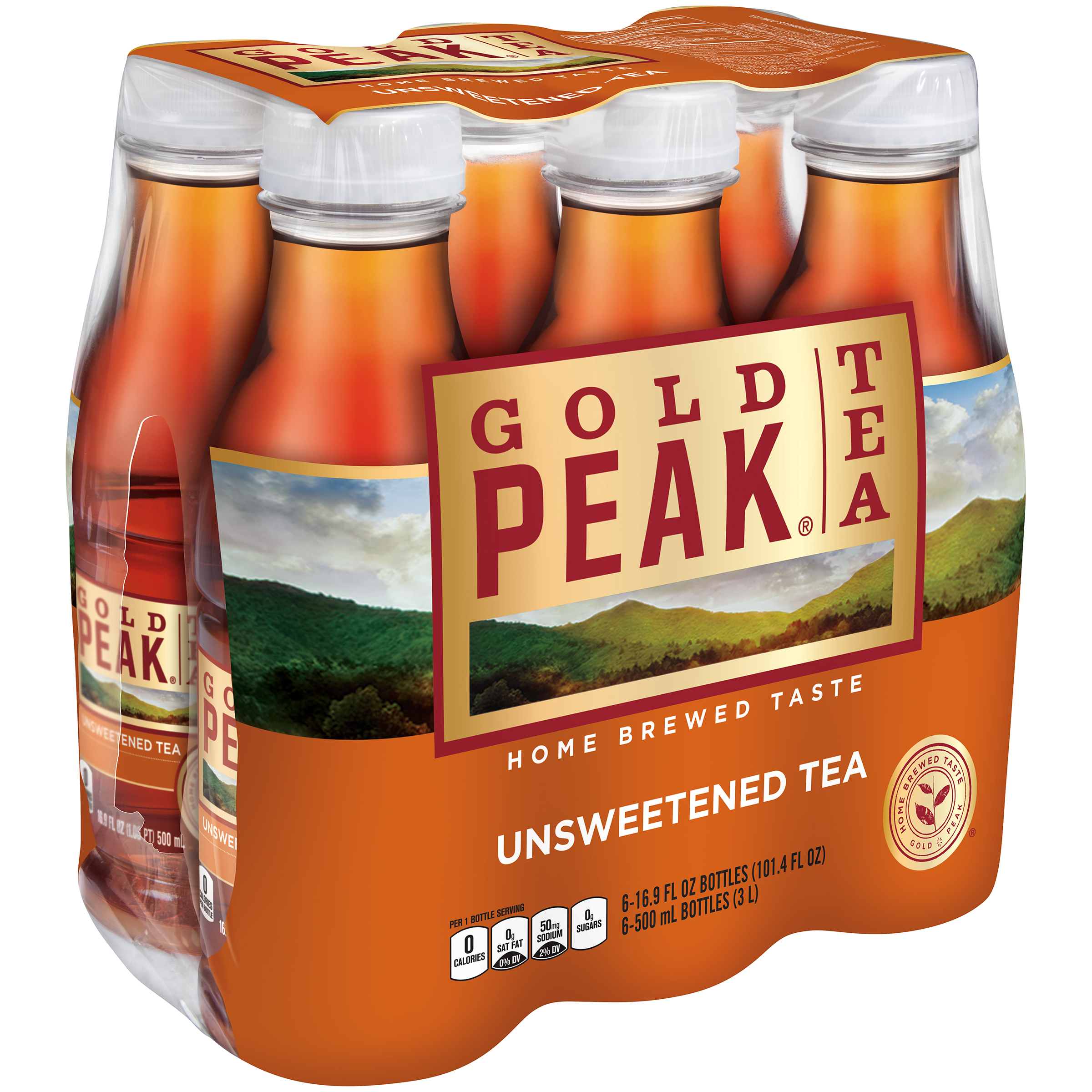 Gold Peak Unsweet Tea, 16.9 Fl Oz, 6 Count