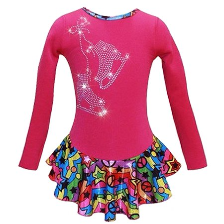 Pink Peace Stars Rainbow Skates Dress Girl 5-12 (Used Figure Skating Competition Dresses For Sale)