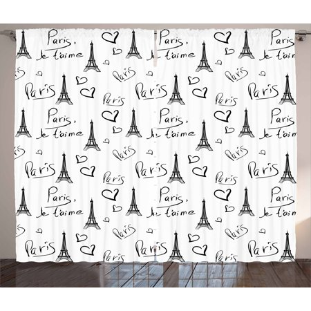 Paris Curtains 2 Panels Set, World Capital City of Love French European Hand Drawn Sketch Eiffel Illustration, Window Drapes for Living Room Bedroom, 108W X 108L Inches, Black White, by Ambesonne