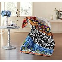 Boho Stripe Quilt Throw Blanket