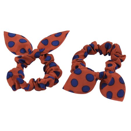 Blue Orange Dots Pattern imitated rabbit Ear Style Stretchy Ponytail Holder 2 Pcs