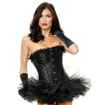 Charades Victorian Burlesque Showgirl Black Corset w/ Lace Trim](Burlesque Clothes)