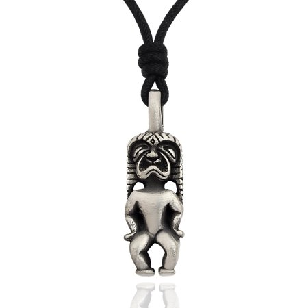 Handmade Aboriginal Hawaiian God Silver Pewter Charm Necklace Pendant Jewelry With Cotton Cord