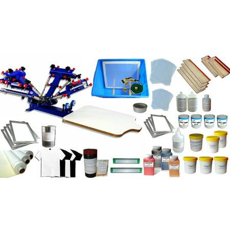 Techtongda Silk Screen Printing Press Kit 4 Color 1 Station Screen Printing Machinewith Consumable Printing Tools #006961