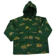Boys Green Construction Rain Coat 6