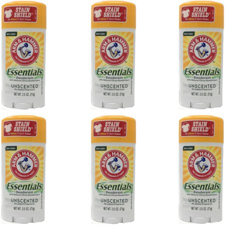 6 Pack Arm & Hammer Essentials Deodorant Solid, Unscented 2.5 Ounce - Arm And Hammer Deodorant