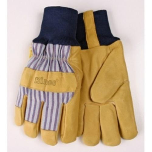 Kinco 1927KWL Work Gloves, Grain Pigskin Palm, Material Back, Knit Wrist, Heatkeep Insulated Lining, Large