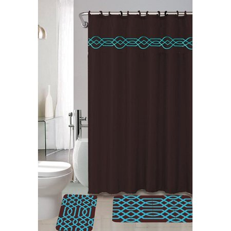 4 Piece Bath Set Chocolate Brown Turquoise Blue Polypropylene Mats Shower Curtain And Fabric
