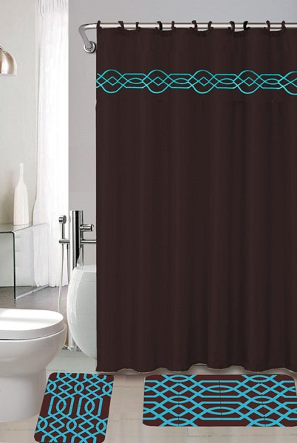 Exceptionnel 4 Piece Bath Set  Chocolate Brown Turquoise Blue Polypropylene Mats, Shower  Curtain And Fabric Hooks Fillagree   Walmart.com