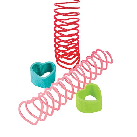 Fun Express - Mini Heart Shaped Magic Springs for Valentine's Day - Toys - Value Toys - Magic Springs - Valentine's Day - 12 Pieces ()