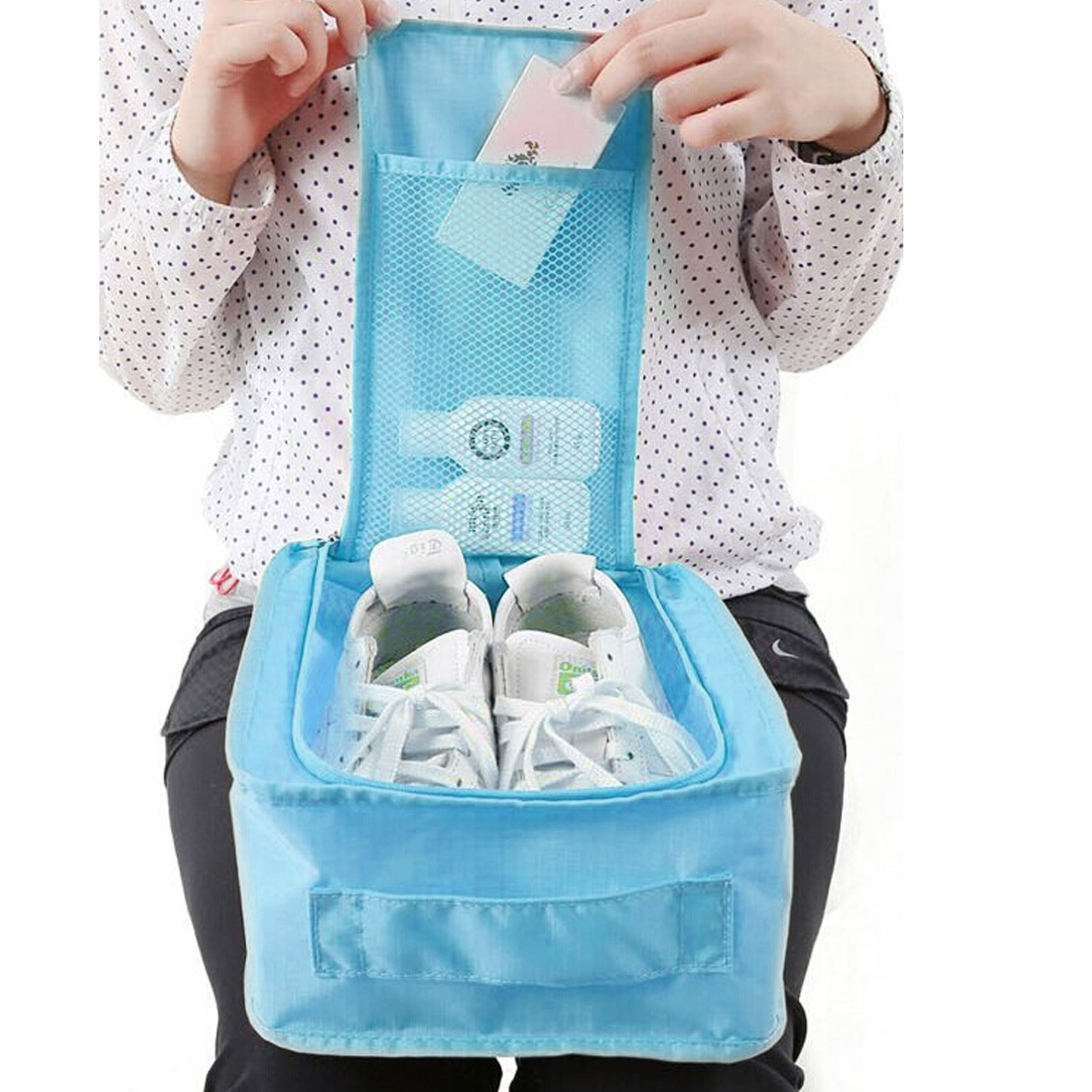 Unique Bargains Water Resistant Shoes Storage Folding Pouch Bag Case Organizer Keeper - image 5 de 6
