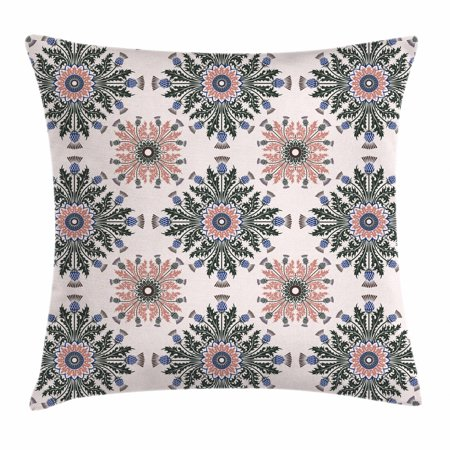 Thistle Throw Pillow Cushion Cover, Colorful Ethnic Ornament of Thistle Flowers with Curved Leaves and Stems Print, Decorative Square Accent Pillow Case, 16 X 16 Inches, Multicolor, by Ambesonne