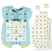 Dashing Little Man Mustache Party - Picture Bingo Cards and Markers - Baby Shower Shaped Bingo Game - Set of 18