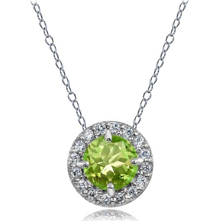 Sterling Silver Peridot and White Topaz Round Halo Necklace