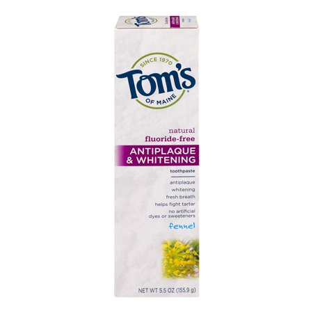 Toms Of Maine Natural Fluoride Free Antiplaque    Whitening Toothpaste Fennel  5 5 Oz