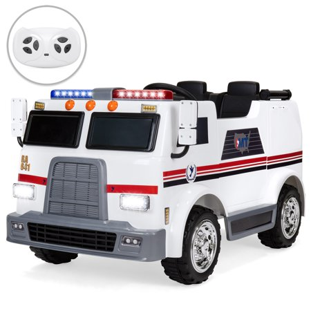 Best Choice Products 12V Kids Ambulance Ride On Truck Toy Emergency Vehicle w/ 2.4MPH Max Speed, Remote Control, USB Port, 2 Speeds, LED Lights, Realistic Siren, Intercom -