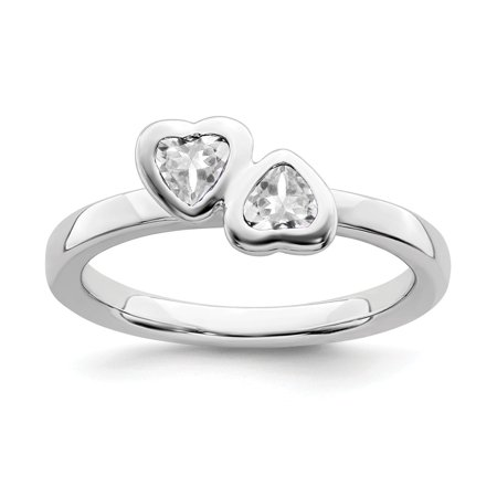 Roy Rose Jewelry Sterling Silver Stackable Expressions White Topaz Double Heart Ring Size