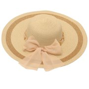 womens Cream Gold Chain Dotted Bow Accent Wide Brim Sun Hat