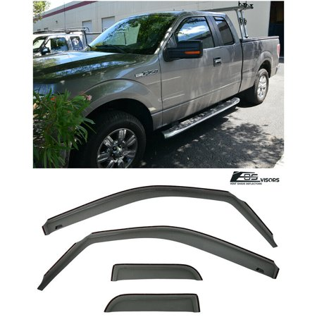 For 04-14 Ford F-150 Extended Cab In-Channel Side Window Visors Deflectors Rain Guard Double 2004 2005 2006 2007 2008 2009 2010 2011 2012 2013 2014 04 05 06 07 08 09 10 11 12 13 14