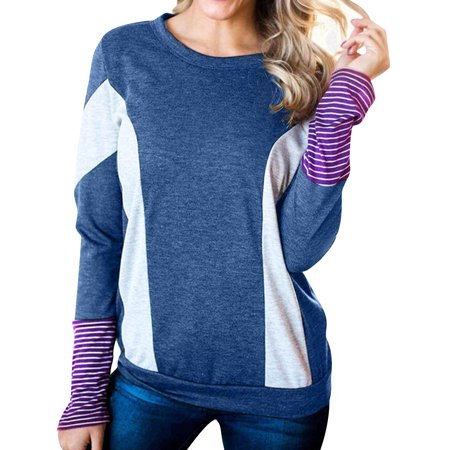 Starvnc Women Long Sleeve Round Neck Colorblock Red Stripes Patchwork Shirt