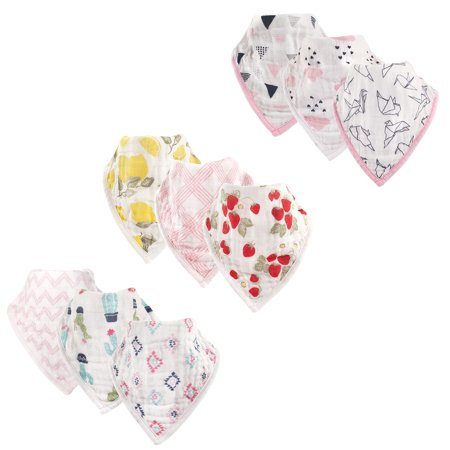 Hudson Baby Boy And Girl Muslin Bandana Bib 9 Pack Girl