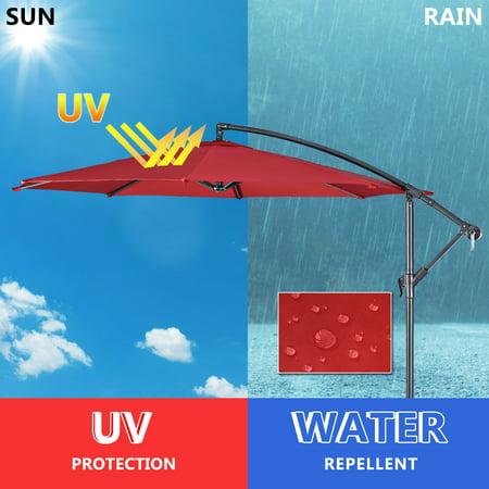 10' Hanging Umbrella Patio Sun Shade Offset Market W/ T Cross Base Burgundy - image 1 of 10