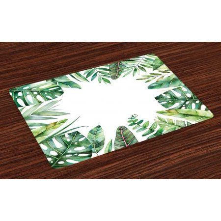 Plant Placemats Set of 4 Interesting Jungle Themed Picture with Leaves and an Opening to the Sky Exotic Art, Washable Fabric Place Mats for Dining Room Kitchen Table Decor,Fern Green, by Ambesonne - Halloween 4 Opening Theme