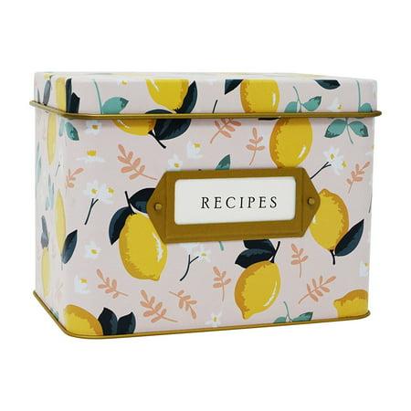 "Jot & Mark Decorative Tin for Recipe Cards | Holds Hundreds of 4"" x 6"" Cards (Lemon Zest)](Recipe Box And Cards)"
