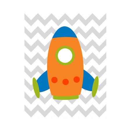 Rocket Chevron 1 Print Wall Art By Tamara Robinson ()