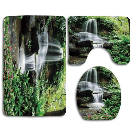 CHAPLLE Waterfall waterfall Pond Flowers Tropical Plants Majestic Fresh Jungle Garden green Dark Brown White 3 Piece Bathroom Rugs Set Bath Rug Contour Mat and Toilet Lid Cover (Garden Bathroom Rugs)