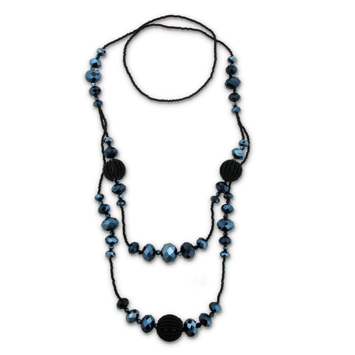 34 Inch Long Black Beaded Crystal Designer Necklace on Seed Chain