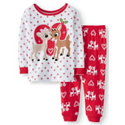 RUDOLPH THE RED NOSED REINDEER Christmas Long Sleeve Tight Fit Pajamas, 2pc Set (Baby Girls)