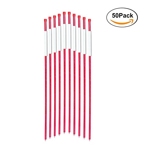 FiberMarker Driveway Markers 48-Inch Red 50-Pack 5/16-Inch Dia Solid Snow Poles Snow Markers Snow Stakes
