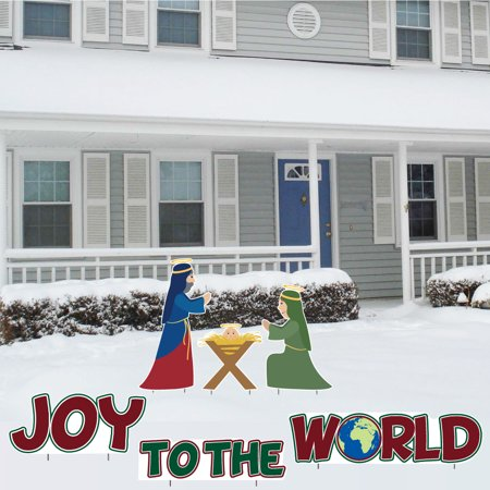 Joy to the World and Nativity Christmas Lawn Decorations – Set of 6