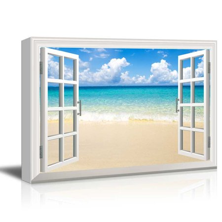 wall26 - Creative Window View Canvas Prints Wall Art - Beach and Tropical Sea - 24