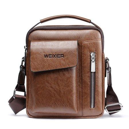 Men's Genuine Leather Shoulder Bag Messenger Briefcase CrossBody Handbag for Business Casual, Light Coffee Business Casual Handbags