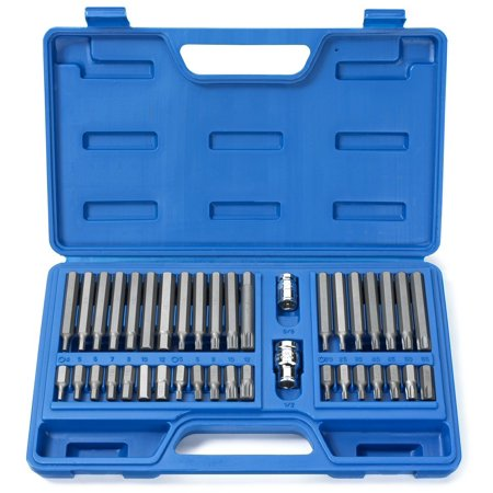 10280B Combination Hex, Torx, and XZN Triple Square Driver Socket Bit Set | 40-Piece Set, A COMPLETE SET: Includes commonly used hex, torx and XZN.., By Neiko