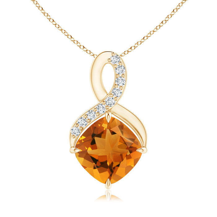 Mother's Day Jewelry Necklace 0.9 carat Cushion Cut Prongs Set Citrine Pendant Necklace With Accent Diamonds in .925... by Angara.com