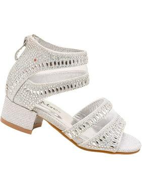 86775b1e63e1d4 Product Image Bella Marie Little Girls Silver Sparkle Stone Encrusted  Sandals