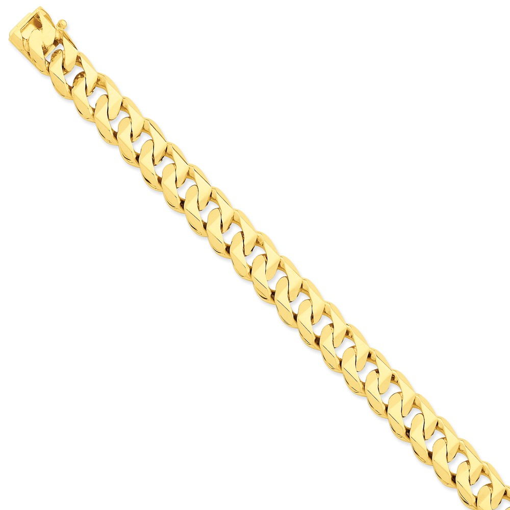 14k Yellow Gold 8in 11mm Hand-polished Traditional Curb Link Chain Bracelet