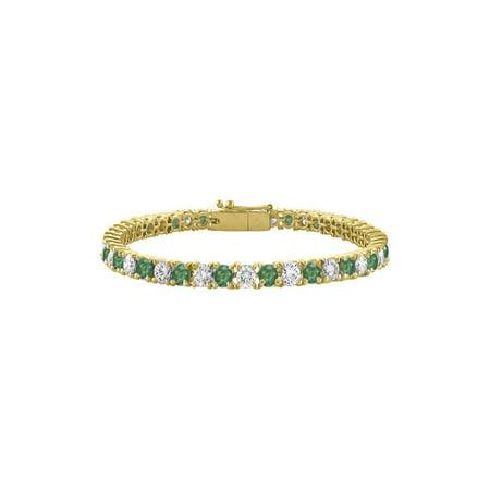 Created Emerald and Cubic Zirconia Tennis Bracelet in 18K Yellow Gold Vermeil.10CT. TGW. 7 Inch - image 2 de 2