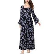 Women's Plus Size Long Sleeve Skull Print Flowy Party Maxi Dress, Black