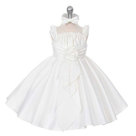 Rain Kids Baby Girls 18M Ivory Satin Jewel Ruffle Pageant Dress