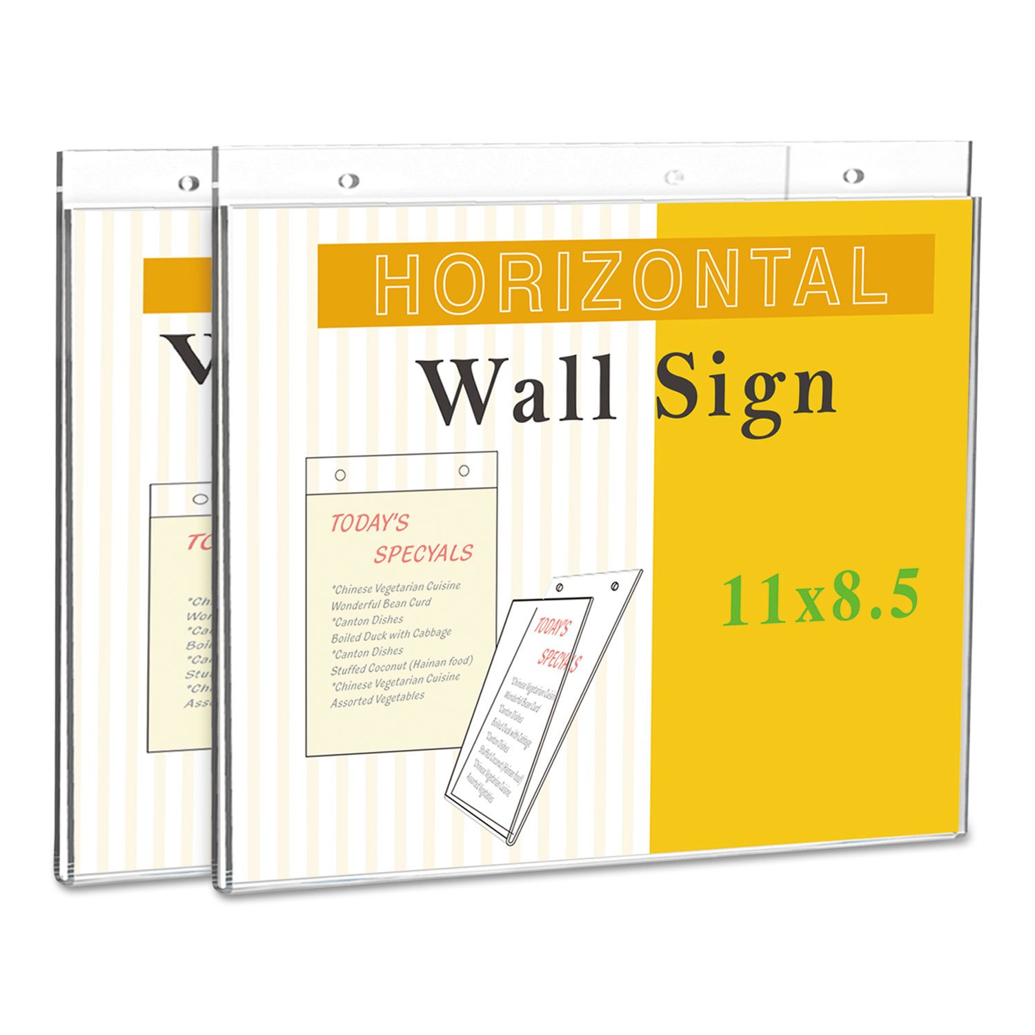 "Universal Office Products UNV76883 Wall Mount Sign Holder, 11"" X 8 1/2"", Clear"