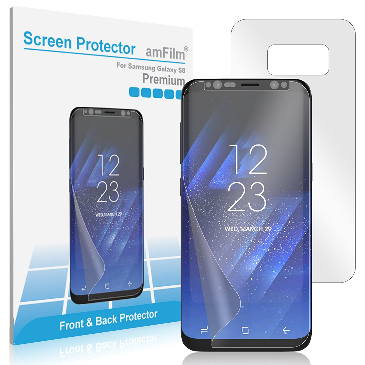 Samsung Galaxy S8 amFilm Full Cover Wet Application TPU HD Clear Screen Protector (Front/Back)