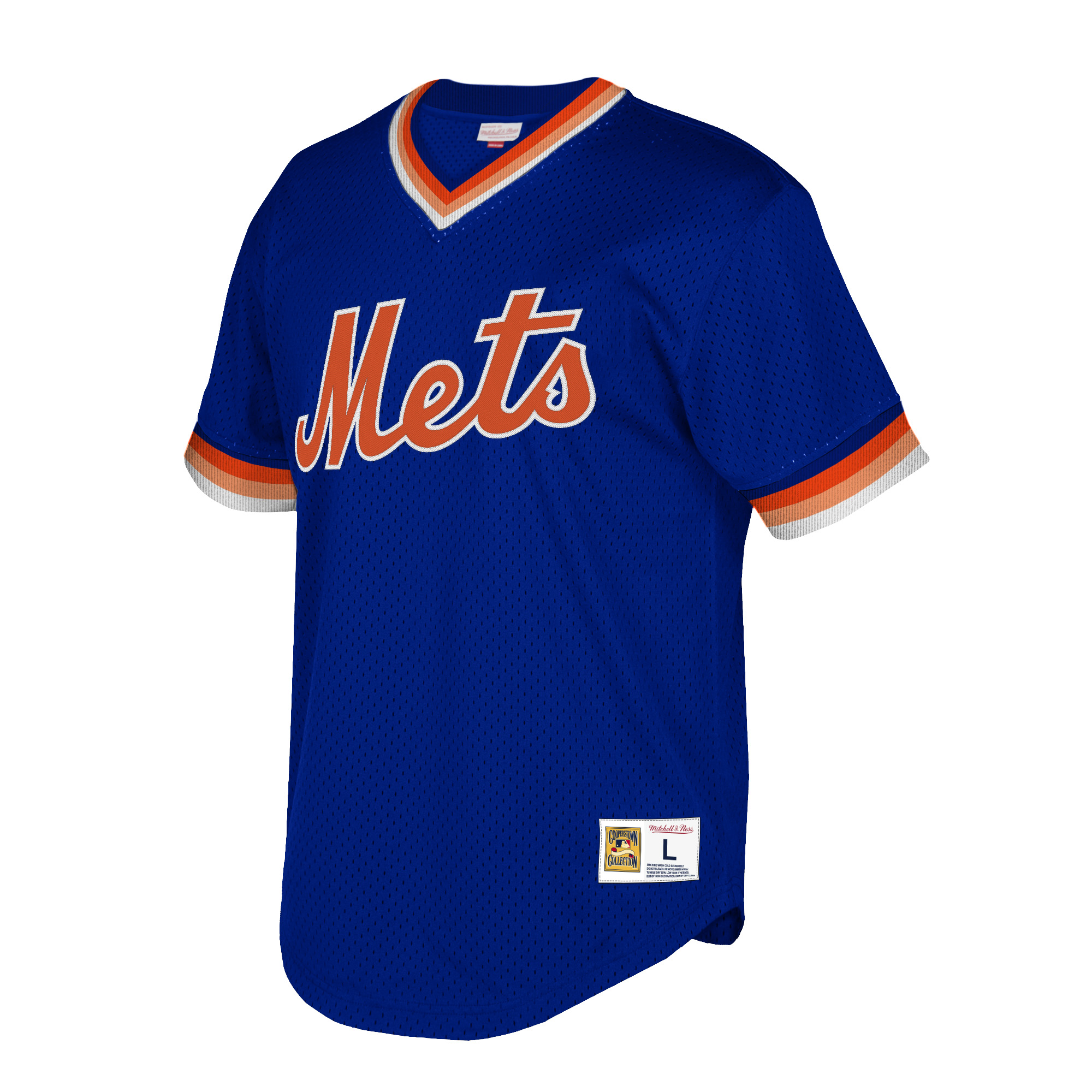 pretty nice 00e74 fb548 New York Mets Mitchell & Ness Cooperstown Collection Mesh Wordmark V-Neck  Jersey - Royal