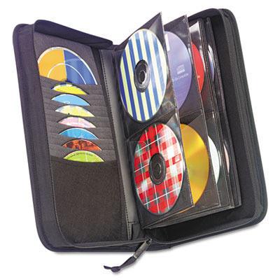 CD/DVD Wallet, Holds 72 Discs, Black, Sold as 1 Each
